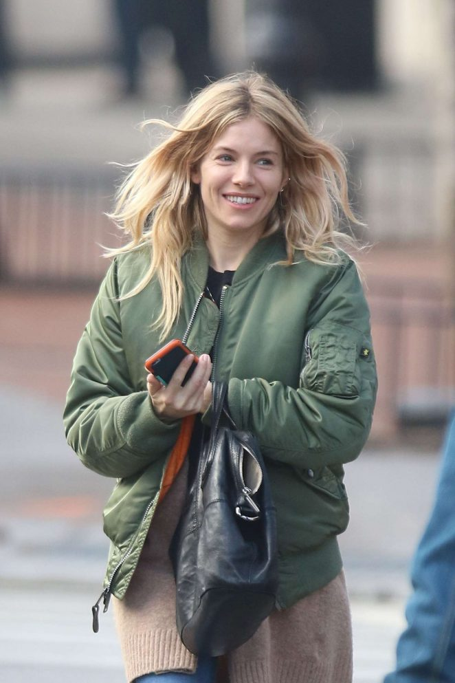 Sienna Miller in Green Jacket Out in New York