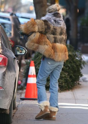 Sienna Miller in Jeans and Fur Coat out in the West Village