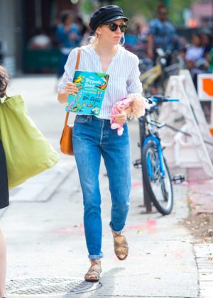 Sienna Miller in Jeans out in New York City