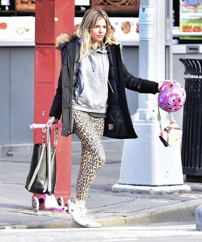 Sienna Miller in Leopard Print Tights Out in New York City