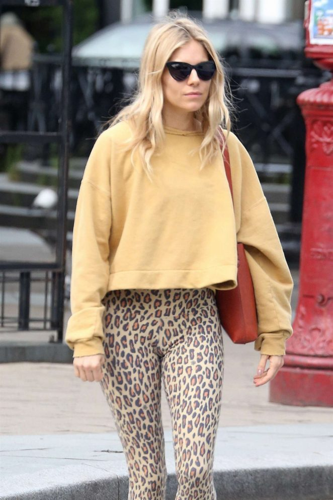 Sienna Miller in Leopard Print Tights – Out in New York