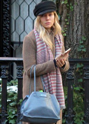 Sienna Miller in Long Coat out in Manhattan