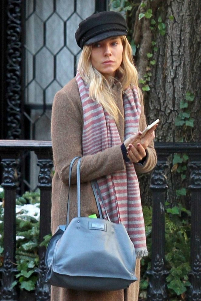 Sienna Miller in Long Coat out in Manhattan