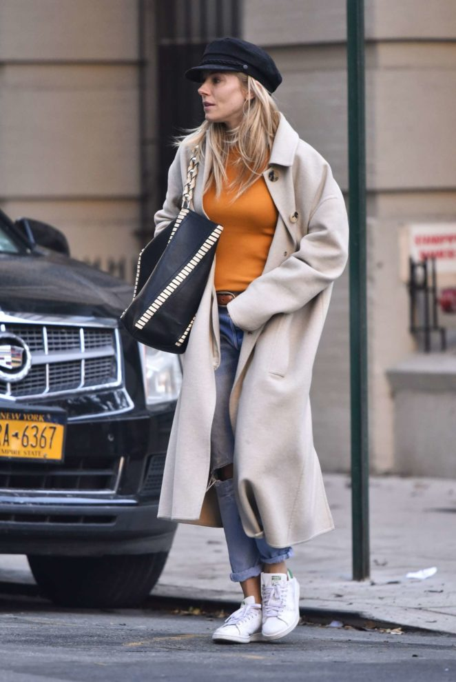 Sienna Miller in Long Coat out in New York City