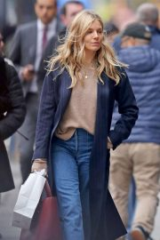Sienna Miller in Long Coat - Out in New York
