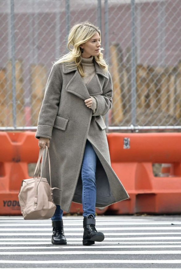 Sienna Miller in Long Grey Coat - Out in New York