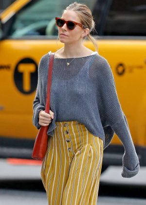 Sienna Miller in Orange Stripey Pants - Out in NYC