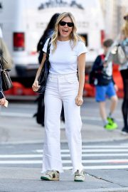 Sienna Miller in Pink Jeans and a White Top in New York City