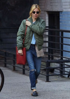 Sienna Miller in Ripped Jeans Out in New York