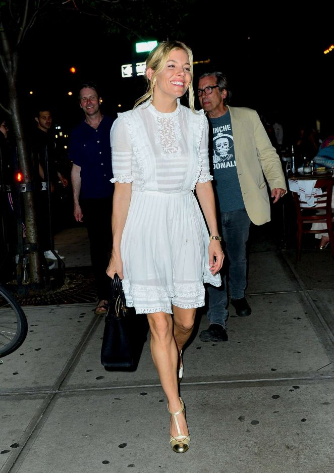 Sienna Miller in White Dress - Leaves Bowery Hotel in New York