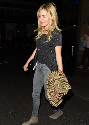 Sienna Miller leaving the Apollo Theatre in London