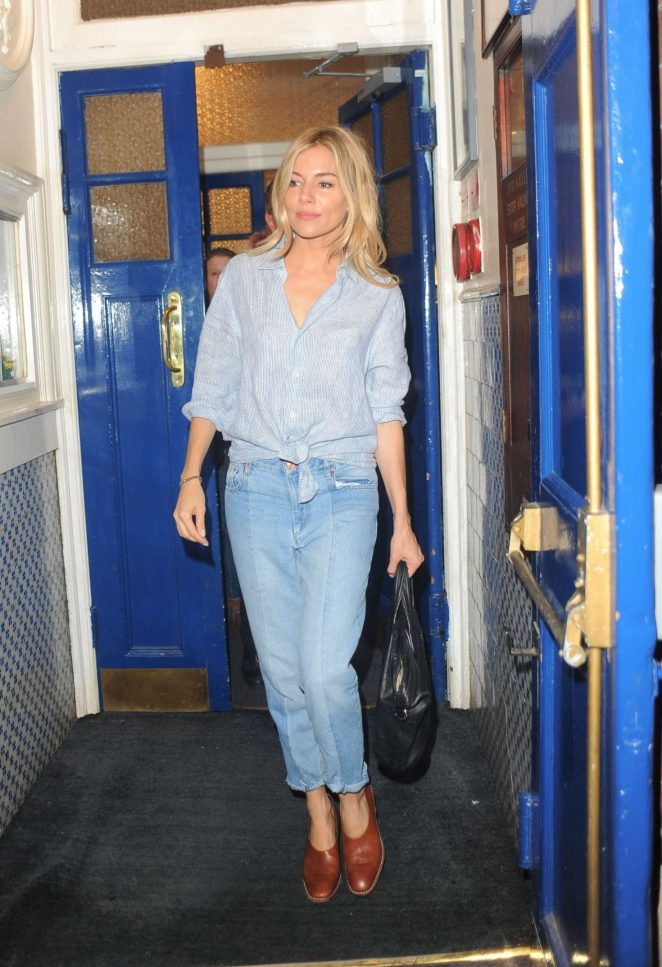 Sienna Miller - Leaving the Apollo Theatre in London