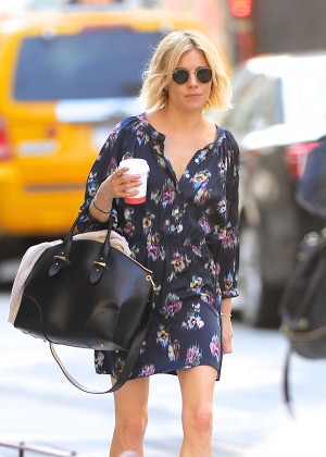 Sienna Miller in Mini Dress out in NYC