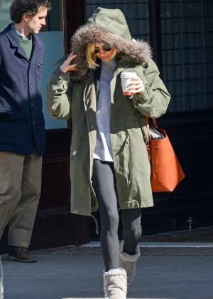 Sienna Miller in Leggings Out in NYC