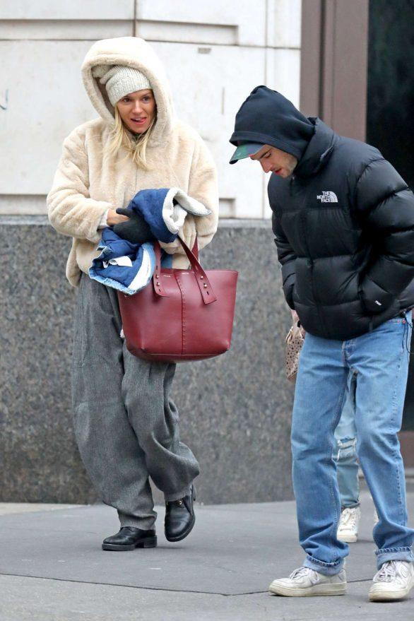 Sienna Miller 2019 : Sienna Miller – Wears a hooded fur coat out in NYC-01
