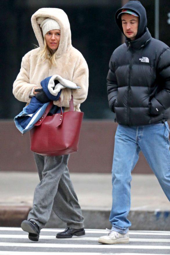 Sienna Miller 2019 : Sienna Miller – Wears a hooded fur coat out in NYC-02