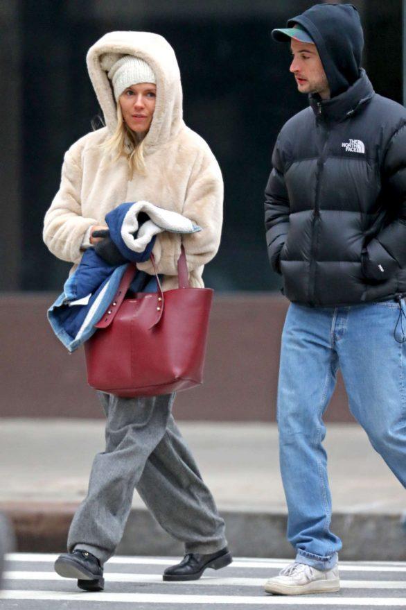 Sienna Miller 2019 : Sienna Miller – Wears a hooded fur coat out in NYC-07