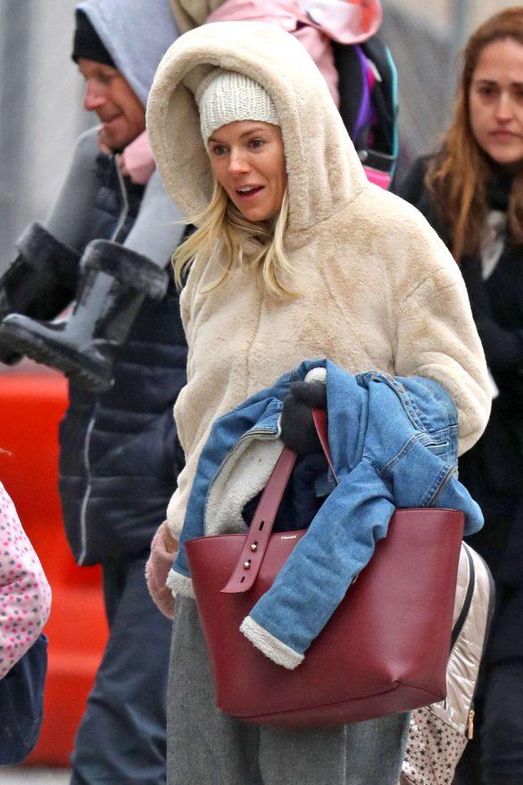 Sienna Miller 2019 : Sienna Miller – Wears a hooded fur coat out in NYC-08