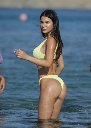Silvia Caruso in Bikini at the beach in Mykonos
