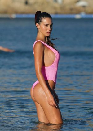 Silvia Caruso in Pink Swimsuit at the beach in Mykonos