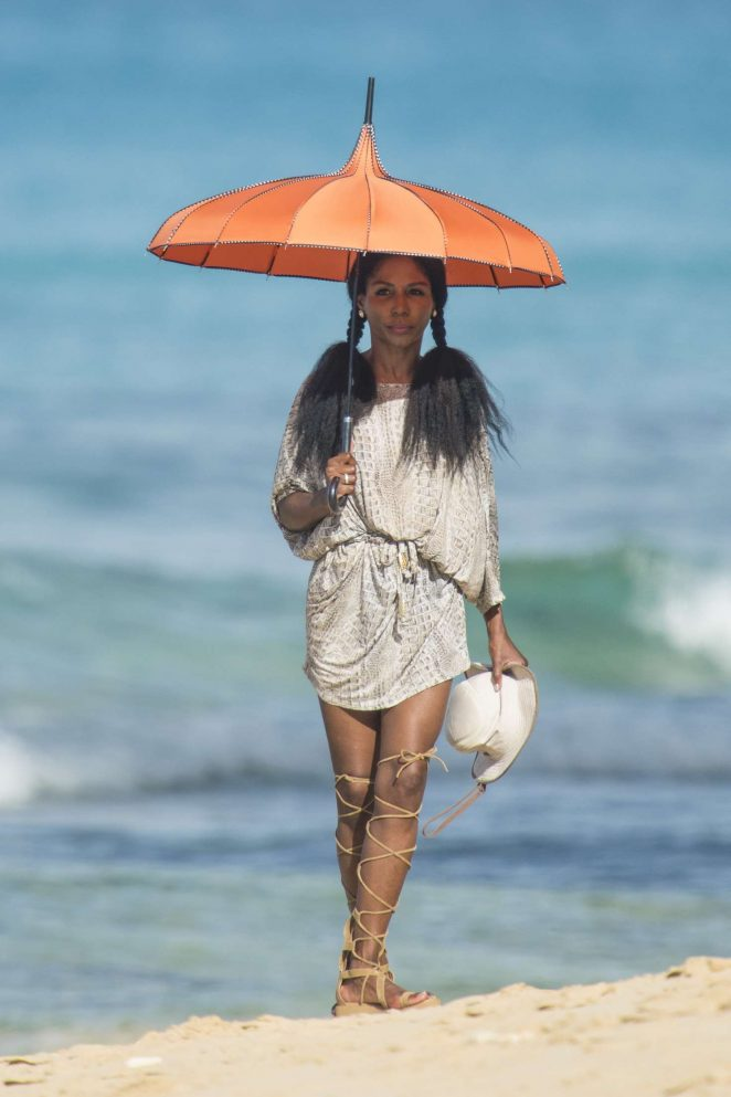 Sinitta at the beach in Barbados