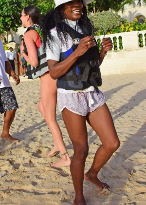 Sinitta on the beach in Barbados