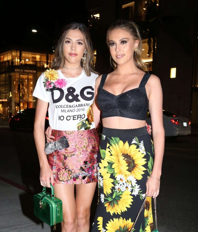 Sistine and Sophia Stallone at Dolce and Gabbana Store Party in Los Angeles