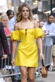 Sistine Stallone in Yellow Dress - Arrives to Good Morning America in NY