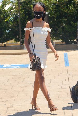 Skai Jackson - Looks chic in her white dress in Malibu
