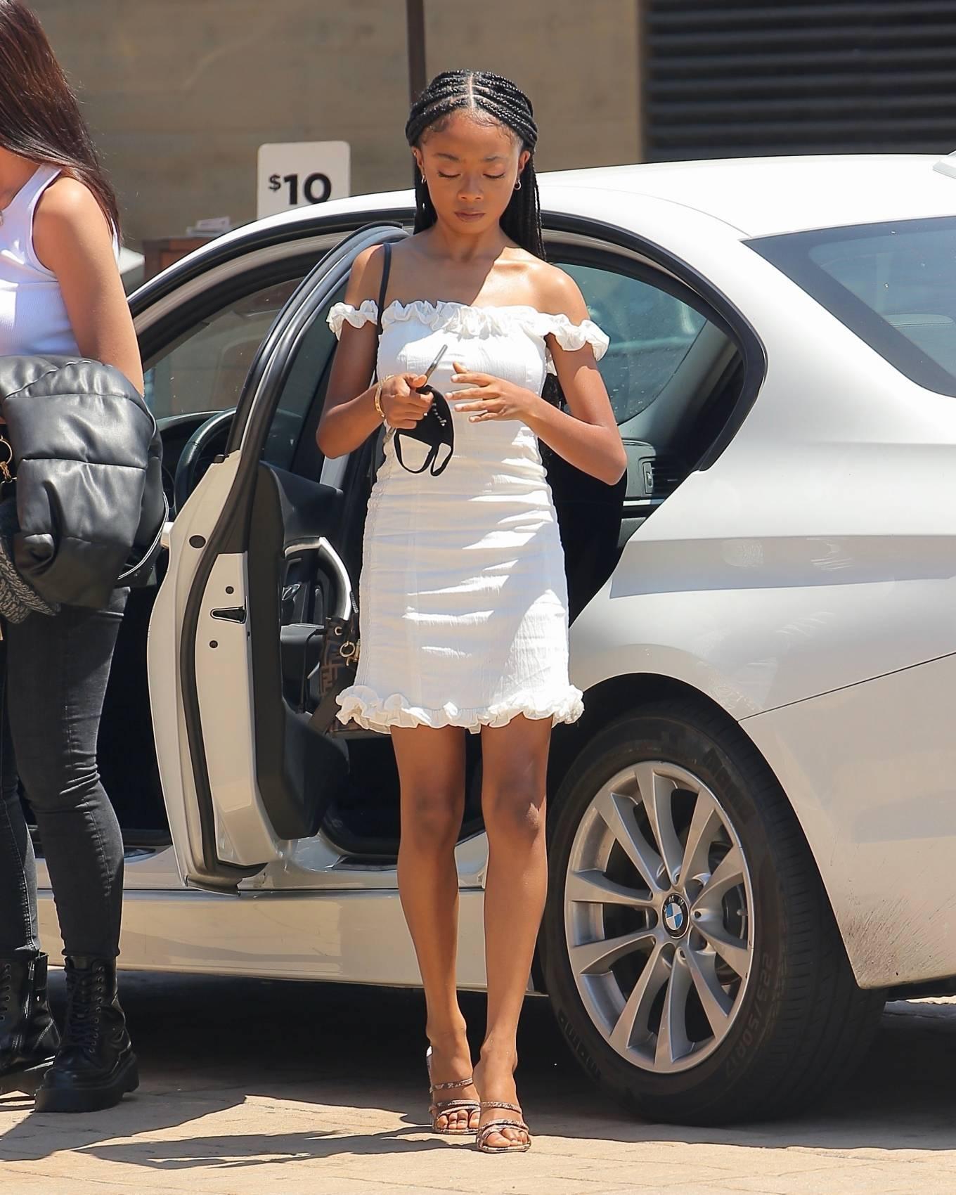 Skai Jackson 2020 : Skai Jackson – Looks chic in her white dress in Malibu-07