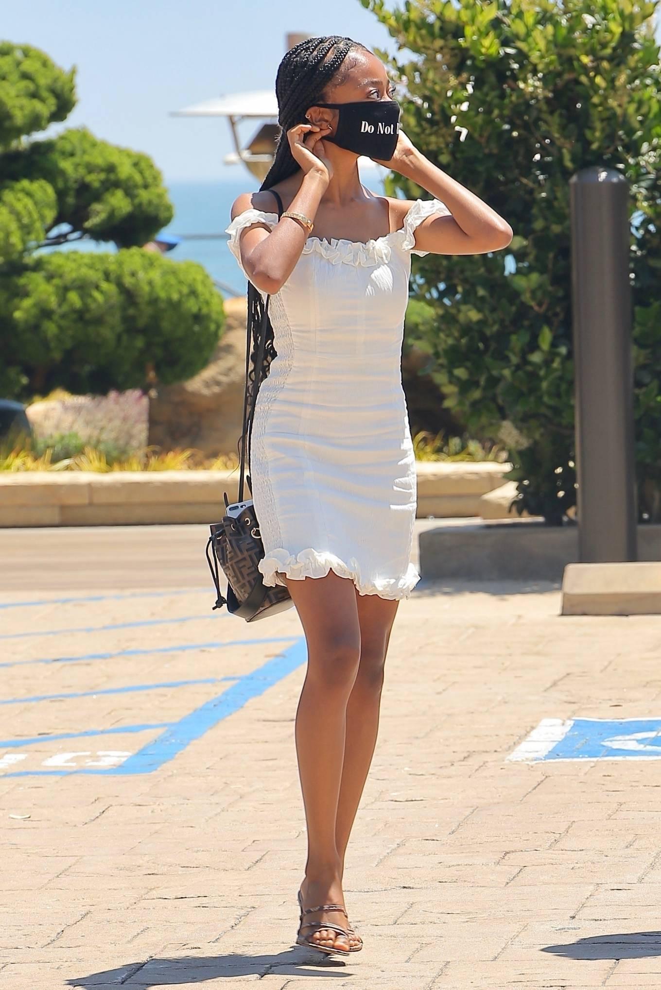 Skai Jackson 2020 : Skai Jackson – Looks chic in her white dress in Malibu-09