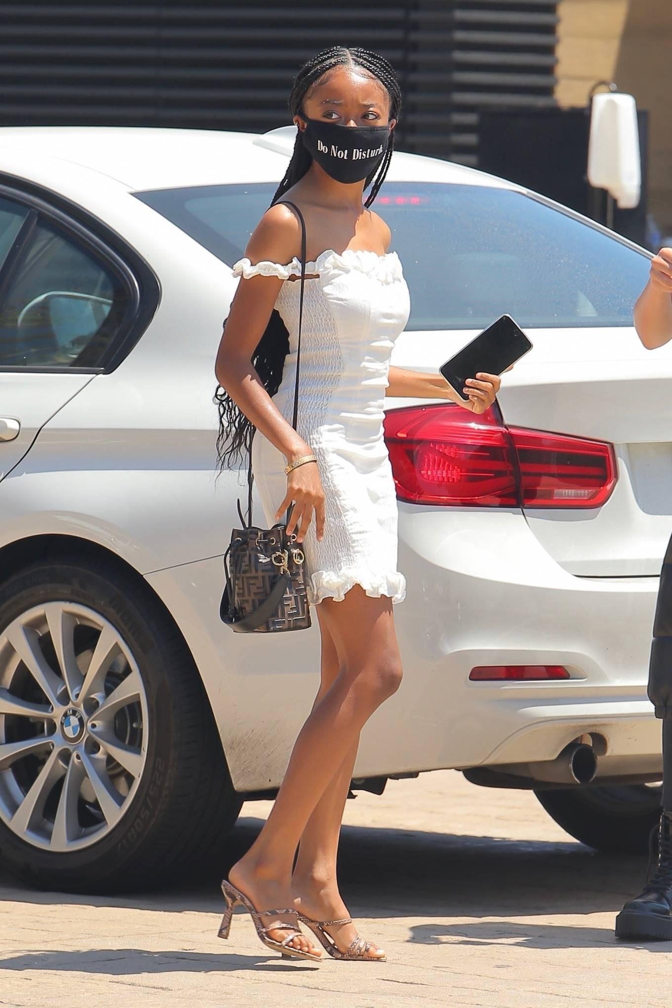 Skai Jackson 2020 : Skai Jackson – Looks chic in her white dress in Malibu-10