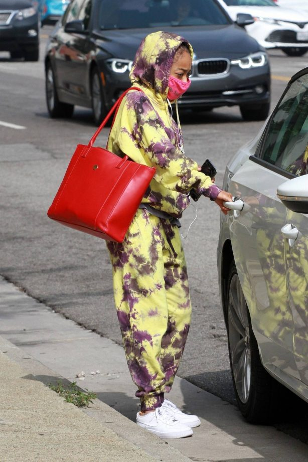 Skai Jackson - Looks stylish in tie-dye outfit in Los Angeles