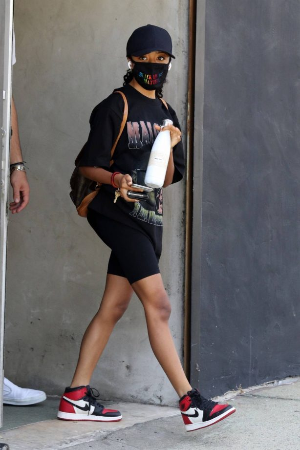 Skai Jackson - Wearing a Malcolm X t-shirt at the DWTS studio in Los Angeles