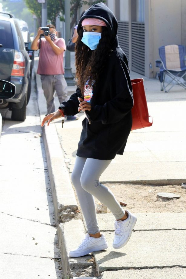 Skai Jackson - Wearing mask as she leaving DWTS studio in Los Angeles