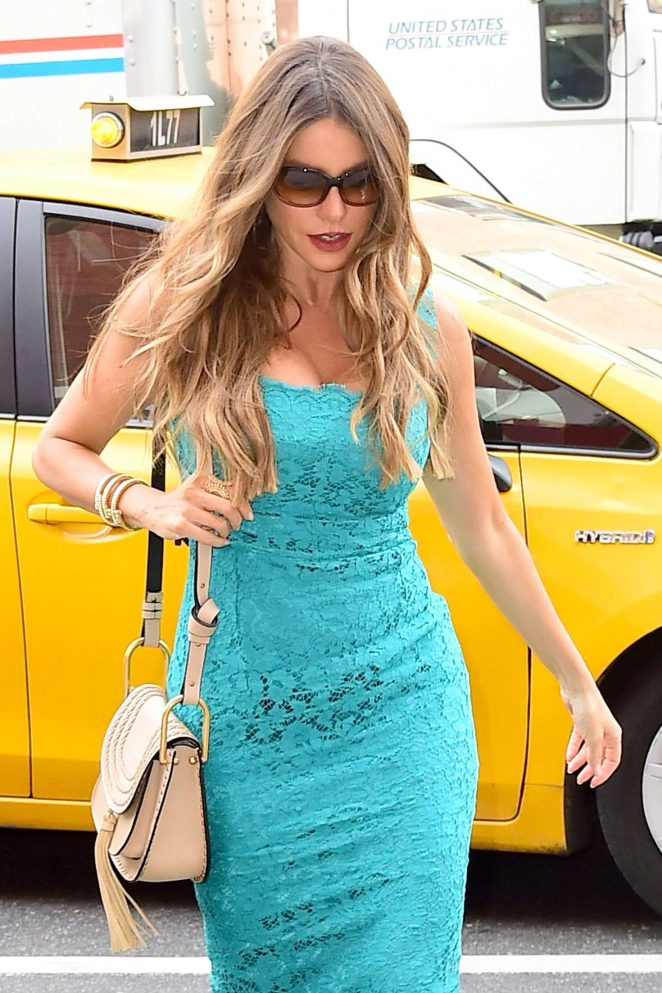 Sofía Vergara in Blue Dress Arriving at FOX in New York