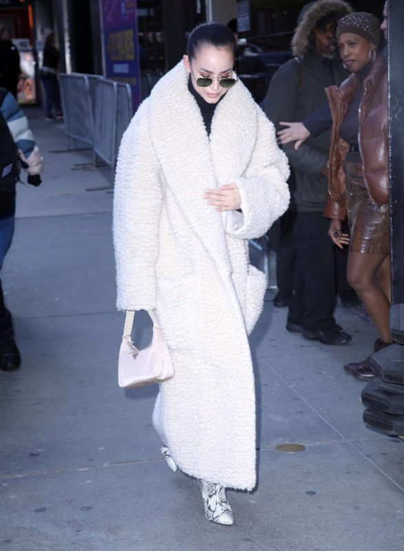 Sofia Carson in Long Fur Coat - Out in New York