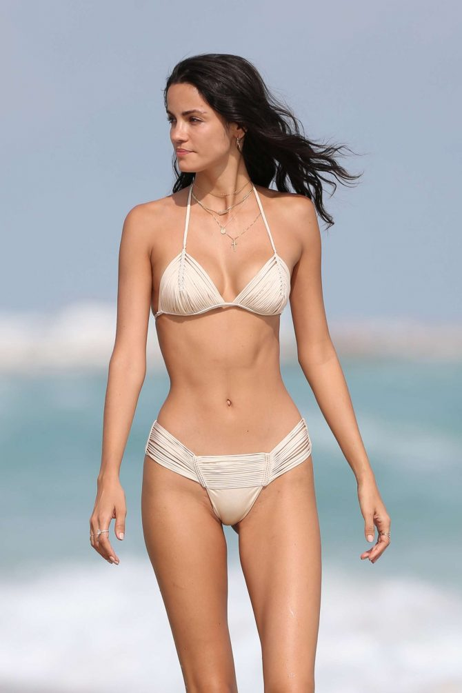 Sofia Resing in Cream Bikini on Miami Beach