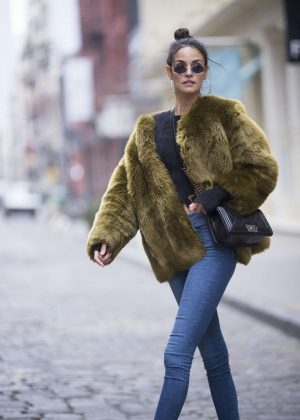 Sofia Resing in Green Fur Coat in Manhattan