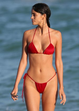 Sofia Resing in Skimpy Red Bikini in Miami