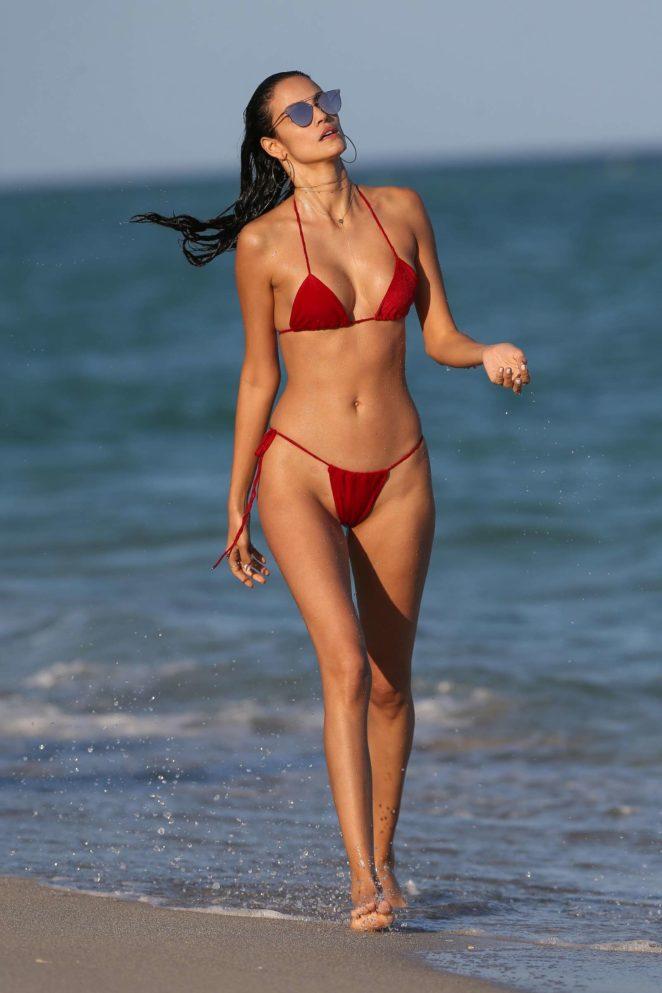 Skimpy red bikini