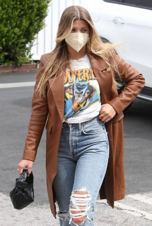 Sofia Richie - In a chestnut coat and ripped jeans steps out in Hollywood