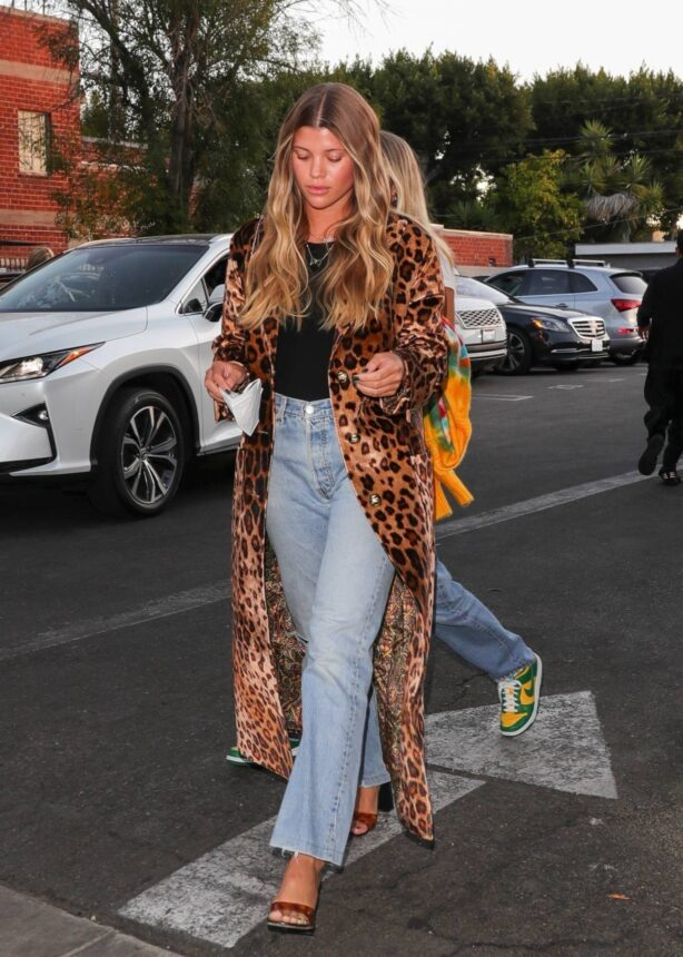 Sofia Richie - In a long leopard print coat at Matsuhisa in Beverly Hills