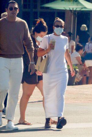 Sofia Richie - In a white maxi dress out for in Malibu