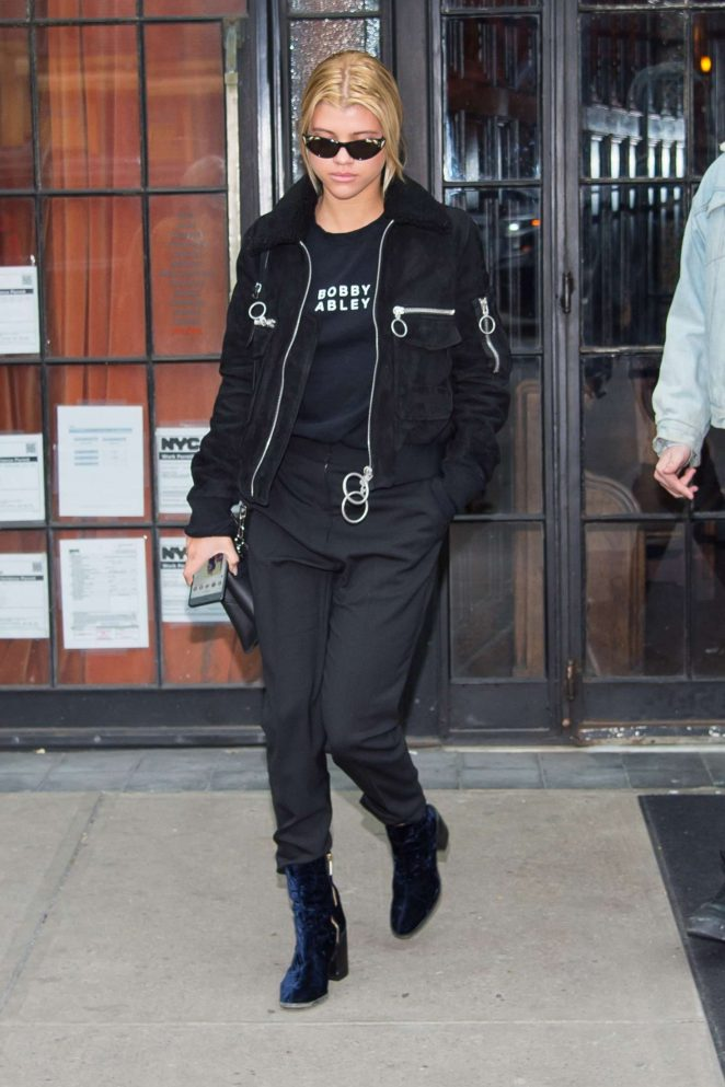Sofia Richie in all black in New York City