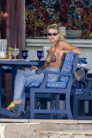 Sofia Richie in Animal Print Bikini in Cabo San Lucas