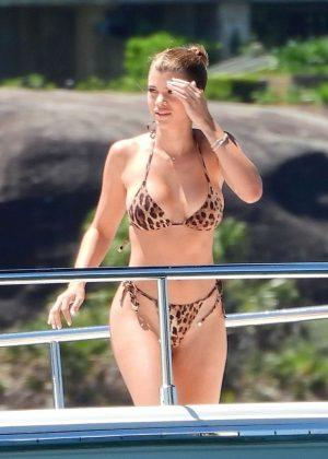 Sofia Richie in Animal Print Bikini on a luxury yacht in Sydney