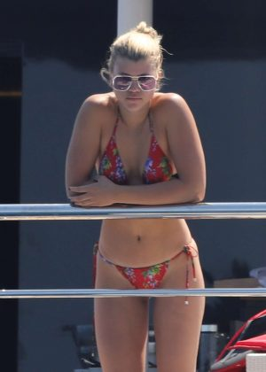 Sofia Richie in Bikini on a yacht in Cannes