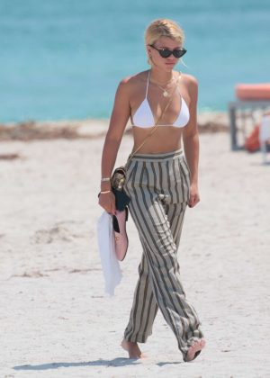 Sofia Richie in Bikini Top on vacation in Miami