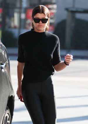 Sofia Richie in Black at a gas station in Beverly Hills